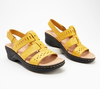 Clarks Collection Leather Cut-Out Sandals - Lexi Qwin