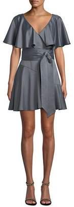 Elliatt Haven V-Neck Draped-Sleeve Satin Dress w/ Self-Tie Waist