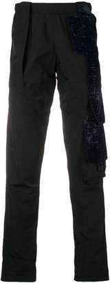 Cottweiler velvet patches straight-cut trousers