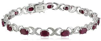 Xo Sterling Silver 8 cttw Ruby and Diamond Accented  Tennis Bracelet