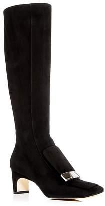Sergio Rossi Women's Suede Mid-Heel Boots