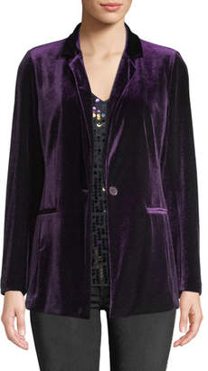 1f926f4431e3a Joan Vass Plus Size One-Button Velvet Jacket