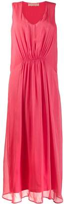 120% Lino long sleeveless ruched dress