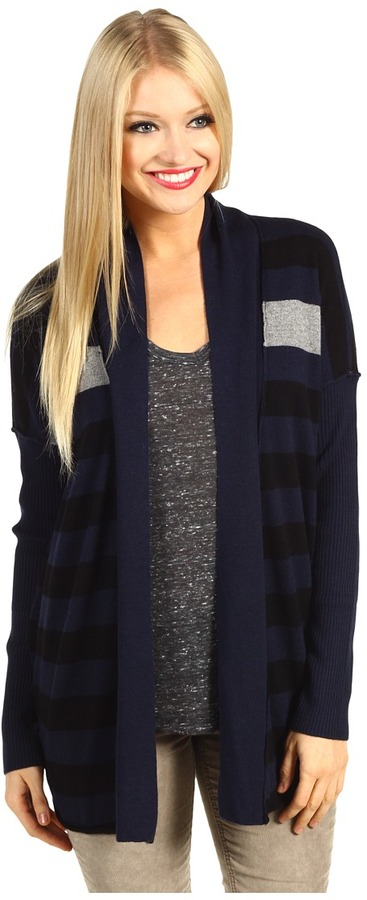 Michael Stars Cashmere Blend Stripe Open Cardigan (Navy/Black) - Apparel