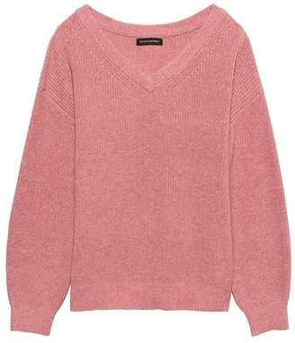 Banana Republic Wool-Cotton Blend Ribbed V-Neck Sweater