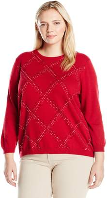 Alfred Dunner Alf Dunner Women's Petite Classic Sequin Embellished Grid Sweater