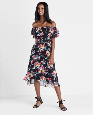 Express Off The Shoulder Ruffle Midi Dress
