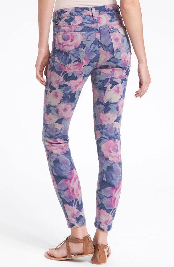 Joe's 'The High Water' Print Crop Skinny Jeans (Tainted Rose)