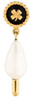 Chanel Faux Pearl Clover Stick Pin