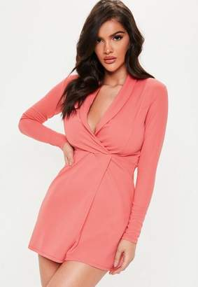 0499b03a50dc4 Missguided Petite Neon Pink Long Sleeve Blazer Dress
