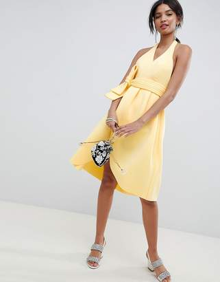 Asos DESIGN halter plunge belted prom dress