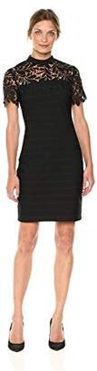 Bebe Women's Body Con Dress with Lace Sleeves and Neckline