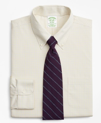 Brooks Brothers Stretch Milano Slim-Fit Dress Shirt, Non-Iron Check