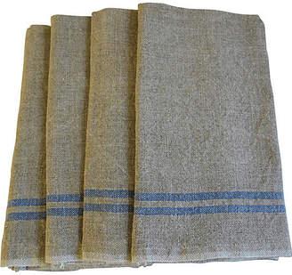 One Kings Lane Vintage French Blue Stripe Linen Napkins