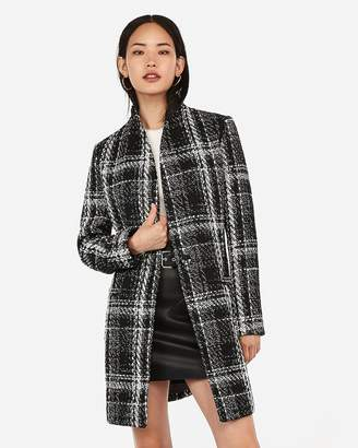 Express Plaid Recycled Wool Collarless One Button Coat