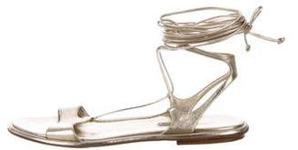 Miu Miu Leather Lace-Up Sandals