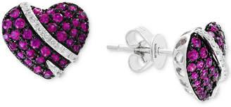 Effy Ruby (3/4 ct. t.w.) & Diamond (1/10 ct. t.w.) Heart Stud Earrings in 14k White Gold