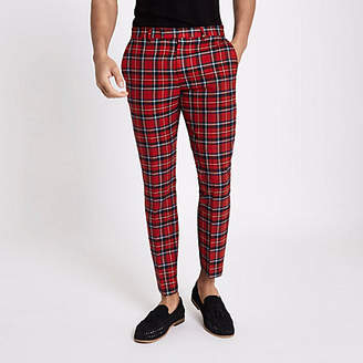River Island Mens Red tartan skinny cropped trousers