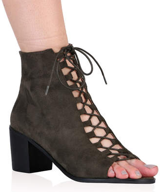 Public Desire Anya Lace Up Boots in Khaki Faux Suede