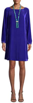 Eileen Fisher Velvet Bateau-Neck Shift Dress