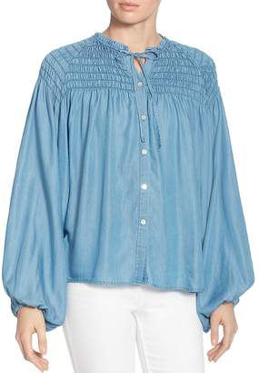 Catherine Malandrino Julie Smocked Chambray Poet Blouse