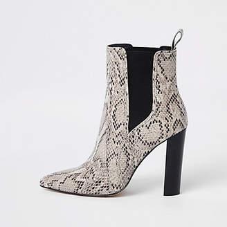 River Island Light brown snake block heel boots