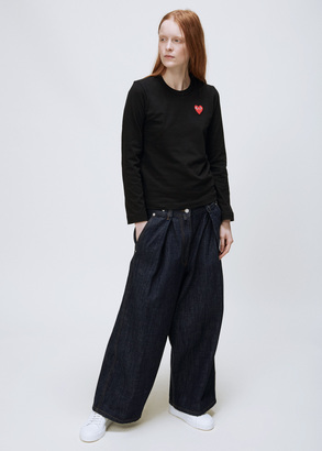 Comme des Garcons PLAY black long sleeve red heart t-shirt $108 thestylecure.com