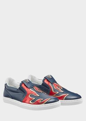 Versace Fuoco Motif Slip-on Sneakers