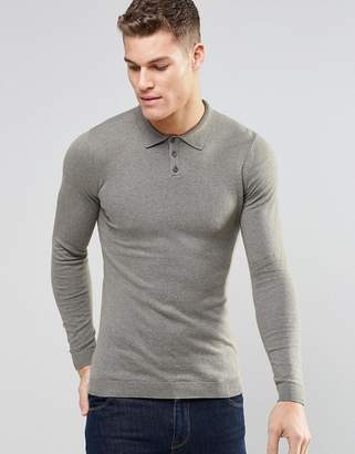 Asos (エイソス) - ASOS Knitted Muscle Fit Polo Shirt In Light Khaki