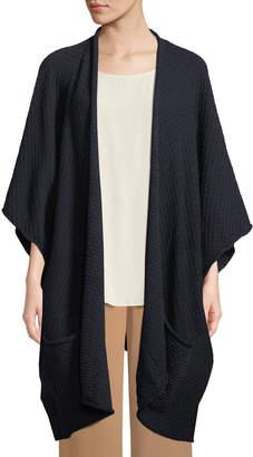 eskandar Rolling-Front Wide-Sleeve Trellis-Stitch Wool Cardigan