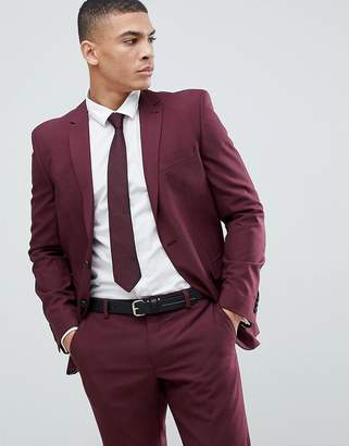 Next wool slim suit jacket in burgundy
