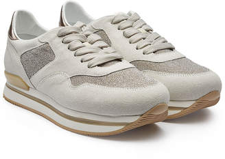 Hogan Leather Platform Sneakers with Glitter