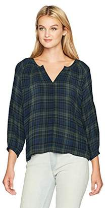 Michael Stars Women's Woven Plaid 3/4 Sleeve Split Neck Top