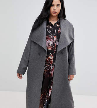 Religion Plus double breasted coat with drapey collar detail