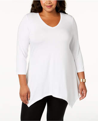 JM Collection Plus Size Handkerchief-Hem Top
