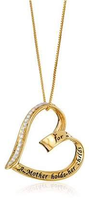 """-Flashed Sterling Silver Diamond """"A Mother Holds Her Child's Hand"""" Heart Pendant (1/10 cttw"""