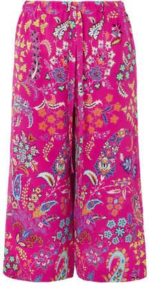 Etro Cropped Printed Silk-crepe Pants - Magenta