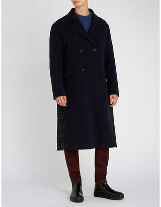 Loewe Contrast check-panel wool-blend coat