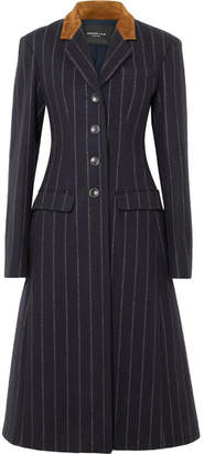 Derek Lam Suede-paneled Striped Wool-felt Coat - Navy