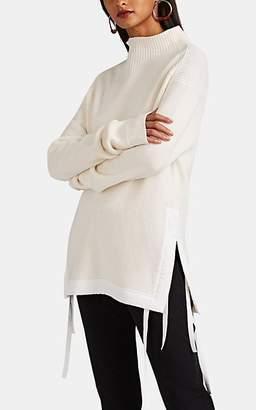 Helmut Lang Women's Side-Tie Rib-Knit Cotton Mock-Turtleneck Sweater - White