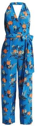 Diane von Furstenberg Silese Print Wide Leg Silk Jumpsuit - Womens - Blue Print