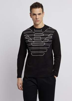 Emporio Armani Cotton Jersey, Long-Sleeved T-Shirt With Logo Print