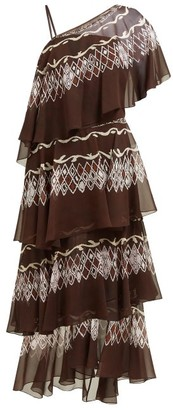 Fendi Tiered Diamond Print Silk Gown - Womens - Brown Multi