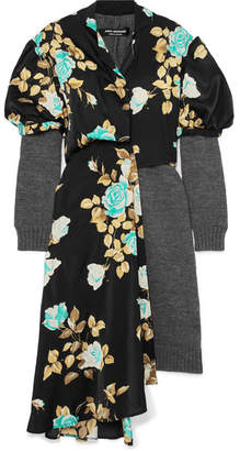 Junya Watanabe Layered Wool And Floral-print Satin Dress - Black