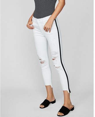 Express mid rise side stripe distressed stretch cropped jean leggings