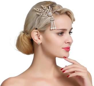 FAIRY COUPLE 1920s Gatsby Wedding Crystal Imitation Pearl Leaf Headband