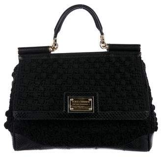 Dolce & Gabbana Python-Trimmed Crochet Miss Sicily Bag