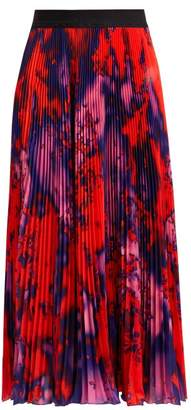 MSGM Tie Dye Print Pleated Midi Skirt - Womens - Red
