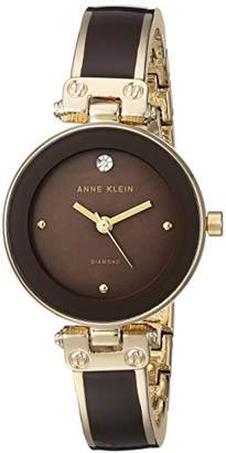 Anne Klein Women's AK/1980BNGB Diamond-Accented Gold-Tone and Brown Bangle Watch