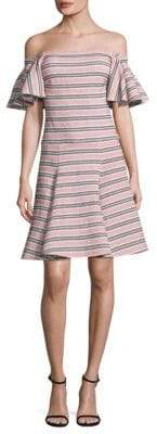 Caroline Constas Off-The-Shoulder Flare Knit Dress